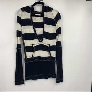 Free People hooded striped top size Medium